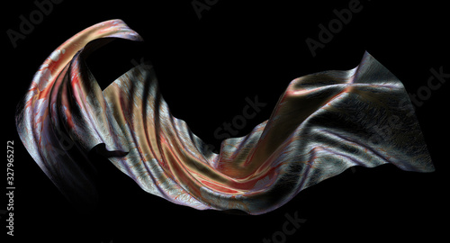 3d render of abstract 3d flying cloth, blanket, scarf or drapery in silky textile material with metal matte parts in orange and red gradient color in curve wavy and smooth lines on black background - 327965272