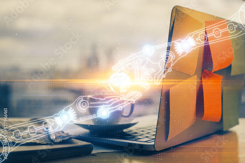 Fototapety, obrazy: Double exposure of laptop computer and technology theme hologram. Concept of freelance work.