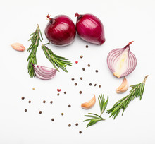 Fresh Raw Onion And Spices On White Background