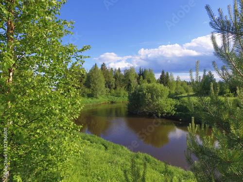 Obraz na plátně Winding forest river Letka, Komi Republic, Russia