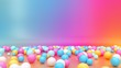 canvas print picture - 3d render, abstract vibrant gradient background, assorted colorful balls placed on the floor of empty room. Minimal fun concept. Pink blue yellow white spheres.