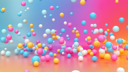3D render, apstraktna živopisna gradijentna pozadina, raznolike šarene kuglice koje padaju, skaču, odskaču, lete ili levitiraju u praznoj sobi. Koncept minimalne zabave. Ružičasto plavi žuto bijeli baloni