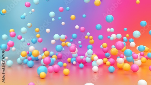 Fotografía 3d render, abstract vibrant gradient background, assorted colorful balls falling down, jumping, bouncing, flying or levitating inside empty room