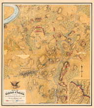 Map Of The Battlefield Of Antietam 1864. Shows Roads, Houses, Fences, And Troop Positions.