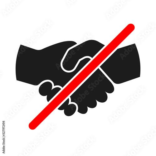 Photo Handshake forbidden sign on white background.