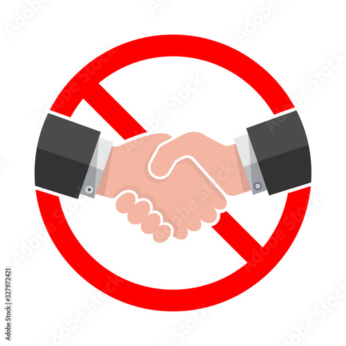 Handshake forbidden sign on white background. Wallpaper Mural
