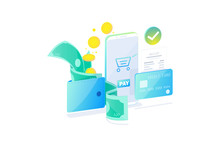 Online Payment Technology Concept, Cashless Society, Safety Payment. Bills, Coins And Credit Card Pay Online With Smartphone Flat Design, Vector Illustration.