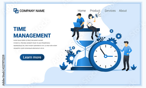 Fototapeta Modern flat web page design concept of time management with people work near big clock and hourglass. Flat landing page template. vector illustration obraz