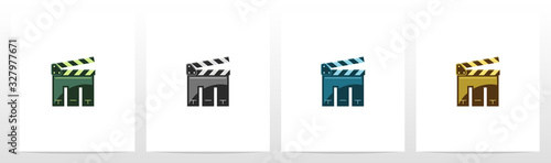 Clapping Board As A Letter Logo Design M Wallpaper Mural