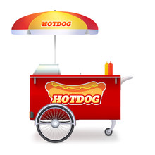 Hot Dog Cart, Street Fast Food Market On Bicycle Base. Trolley Stand For Outdoor Service With Umbrella And Hot Dog Logo. Kiosk Of Seller Fast Food Isolated On White. Vector 3d Illustration