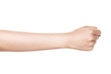Woman Hand Gesture (power, Fist, Attack) Isolated On White.