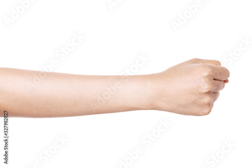 Leinwand Poster woman hand gesture (power, fist, attack) isolated on white.