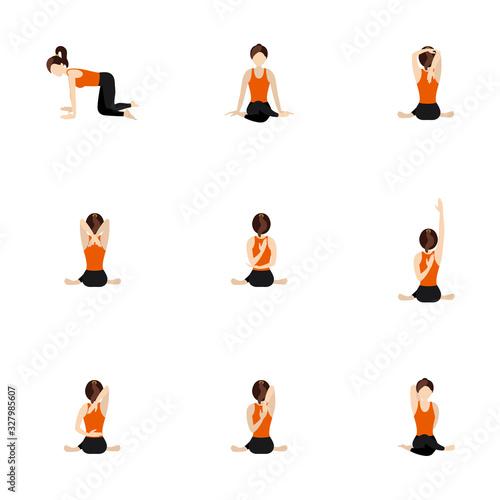 Photo Cow face pose sequence yoga asanas set/Illustration stylized woman practicing go