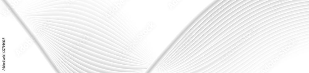 Fototapeta Refracted grey white curved waves abstract elegant background. Vector web banner design