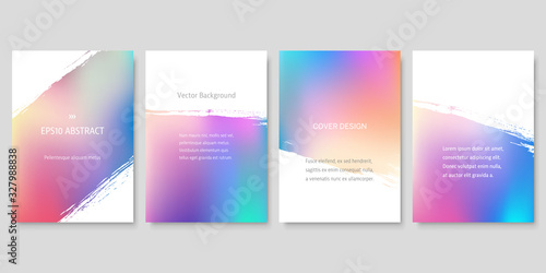 Set of Colorful Gradient Backgrounds with Brush Strokes. Vector Cover Design Templates.