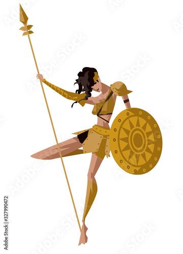 Fotografia greek amazon female warrior with shield