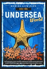Oceanarium Undersea World Retro Poster, Aquarium And Marine Life Zoo. Vector Oceanarium Show Of Ocean Monsters, Starfishes, Fishes, Sea Animals And Turtles, Fauna Nature And Sea Corals