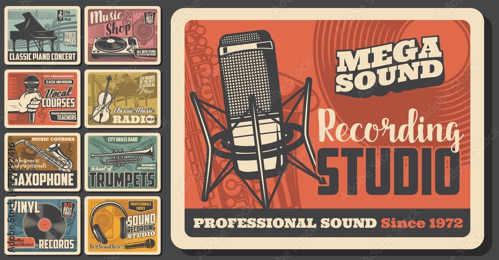 Fototapeta Music concert and musical instruments shop vintage retro posters. Vector sound recording studio, jazz band festival and folk music fest, DJ sound equipment and vinyl records store