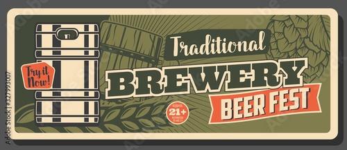 Photo Oktoberfest festival, German craft beer brewery pub and bar vintage retro banner