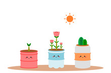 Recycle Pot. Recycle Cans For Growing Plants. Recycled Plastic Bottles For Growing Plants. Recycled Canned Beverage For Growing Plants.