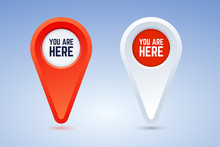 You Are Here Map Pins. Vector Illustration In Two Color Options. Red And White Pins For Use In Maps, Plans, And Others.