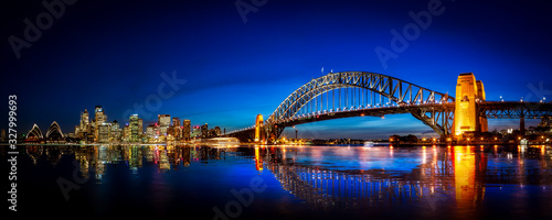 Panorama of Sydney with Harbor Bridge Canvas Print