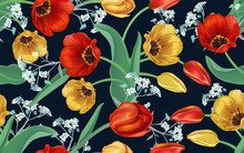 Seamless Background Of Flowers. Tulips Red And Yellow, Wildflowers. Decorative Postcard, Spring Pattern For Textiles, Wrapping Paper, Clothes, Holidays: March 8, Women's Day, Birthday