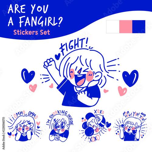 Photo Are You a Fangirl Concept Doodle Illustration Sticker Set