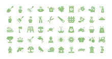 Gardening Equipment Icon Set, Flat Detail Style