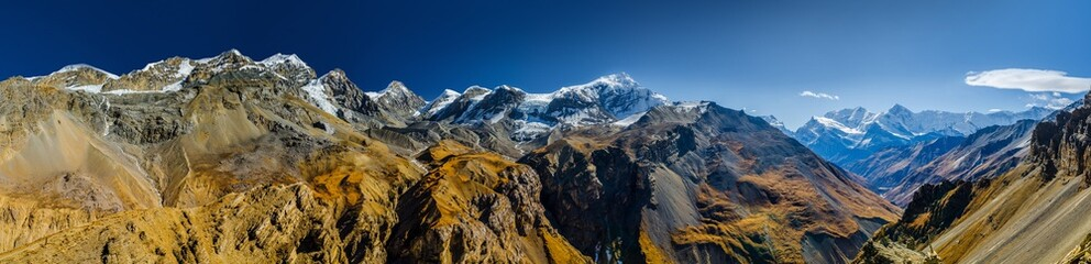 Wide panoramic view of Himalaya mountains Chulu and Gangapurna. Viewpoint at Thorung High Camp. Annapurna circuit trek, Nepal.