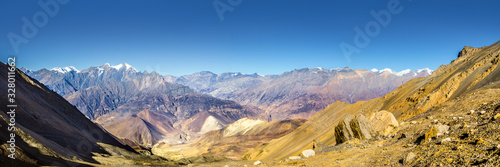 Panoramic view of the Kali Gandaki river valley in sunny day Wallpaper Mural
