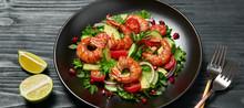 Shrimps Salad, Avocado, Lettuc...