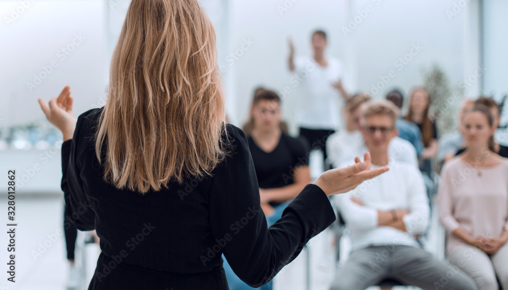 Fototapeta background image of a business seminar in a bright conference room