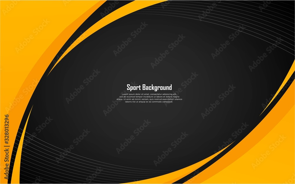 Fototapeta Abstract sport background with yellow shape and white stripes