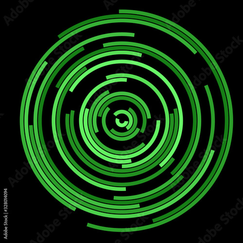 green lines in circles as abstract background Wallpaper Mural