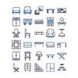 furniture decoration icon set, vector and illustration, home interior design concept