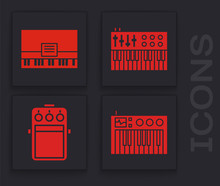 Set Music Synthesizer, Piano, Music Synthesizer And Guitar Pedal Icon. Vector