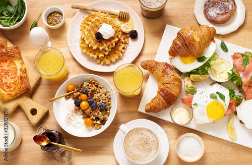 Top view image of brunch menu on wooden table Canvas Print