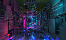 Virtual Data Center. Digital Streams And Future Technology. Deep Machine Learning 3D  Illustration. Flight In Quantum Cyberspace