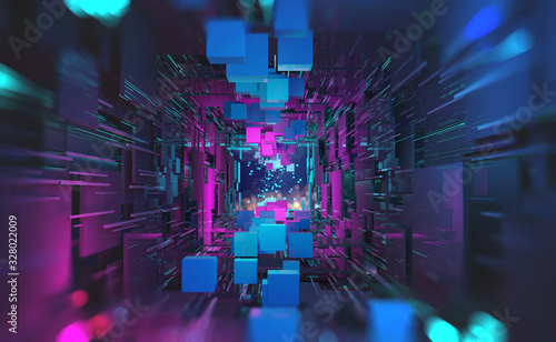 Futuristic sci-fi cyberspace in neon light. Blocks of information in a digital data stream. Portal, gate, tunnel and city of future 3D illustration. Abstract database