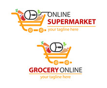 Grocery Online Logo. Supermarket Delivery. Fresh Food Sign.  Fast Shopping Concept Vector.
