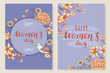 Two greeting cards Happy International Women's Day. Backgrounds with flowers and birds