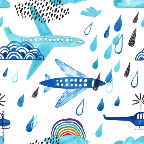 Kids Rainy Seamless Pattern With Airplanes