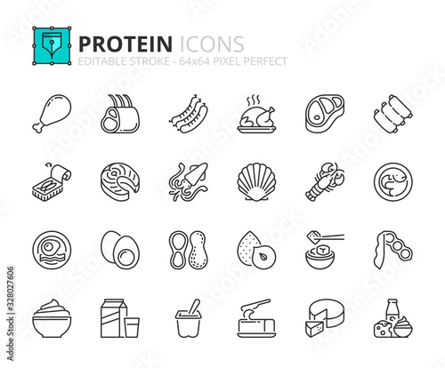 Simple set of outline icons about proteins Fototapeta