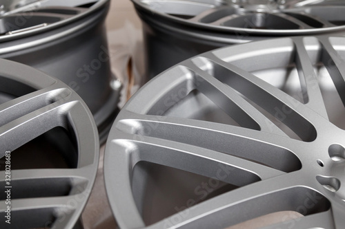 Beautiful alloy car wheels in forged aluminum with knitting needles and titanium silver Canvas Print