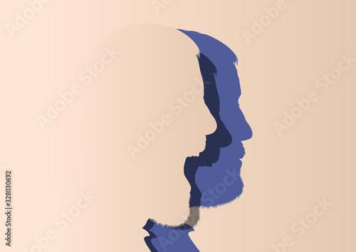 Vászonkép Concept de l'humeur et du changement d'expression avec un homme au visage impassible qui se transforme en se mettant à crier