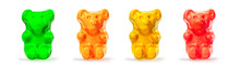 Jelly  Gummy Bears Candy.  Fruit Gum Candies Isolated On White Background. Red, Orange, Yellow And Green.
