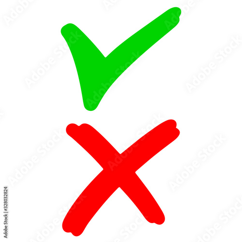hand drawn of Green checkmark and Red cross isolated on white background Wallpaper Mural