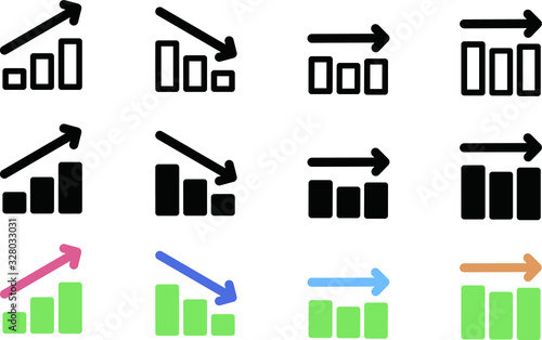 上昇、下落の棒グラフのアイコン、イラスト、素材、カラー、白黒 Tapéta, Fotótapéta