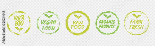 Vegan Healthy Ecology Bio Emblem Logo Design Lettering Badges with Fresh Green Leaves and Grunge Circles Icon Label Sticker Design